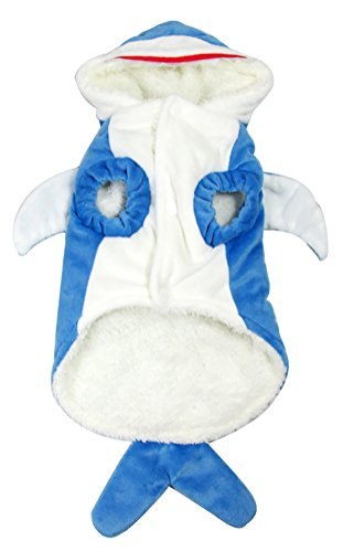 Cat Shark Fin Costume (Woo Woo Pets Lovely Shark Stylepet Cross Dressing Warm Pet Costume Navy XS)
