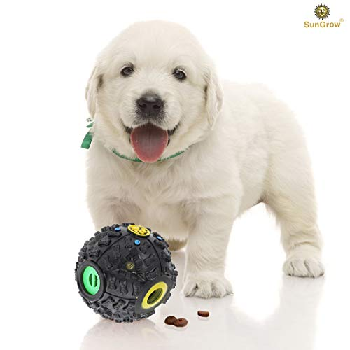 (SunGrow Interactive Treat Dispenser Dog Toy - Food Puzzle Ball - for Mental & Physical Stimulation - Increases IQ, Boredom Buster - Produce Sound on Rolling - for Cats, Puppies, Small & Medium Pets)