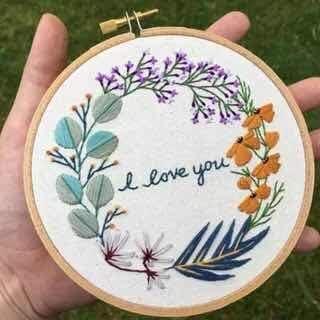 Beginner Embroidery Kit  Flowers Plant Embroidery Kit  Embroidery DIY Craft Kit  Modern Embroidery Needlework Kit