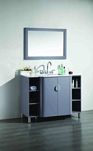 Eviva EVVN800-48GR Plus Vienna 48'' Satin Luxuries Modern Bathroom Vanity With Carrera Marble Top & Porcelain Sink, Grey by Eviva (Image #2)