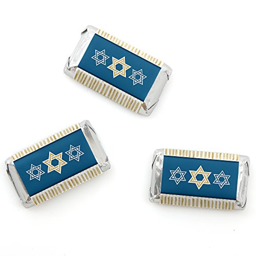 Happy Hanukkah - Mini Candy Bar Wrappers Chanukah Party Favors - 20 Count Chanukah Favor