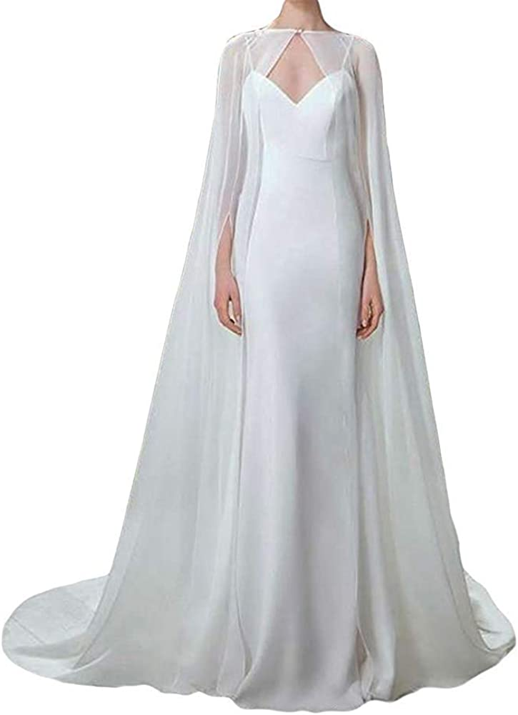 White Long Chiifon Women Ivory Long Bridal Wraps Cloak Wedding Cape