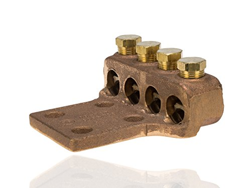 Split Bolt, Post and Tap Connector, Type TL Copper and Cast Bronze Terminal Lug, 300 MCM - 500 MCM Wire Range, 1/2'' Bolt Hole Size, 4 Holes, 1600 Amp Nec, 4.938'' Width, 1.5'' Height, 4.5'' Length by NSI