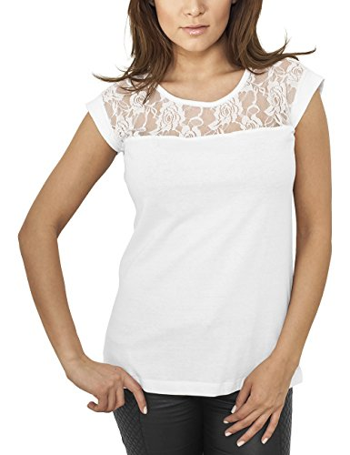 Urban Classics Ladies Top Laces Tee, Camiseta para Mujer Weiß (white 220)