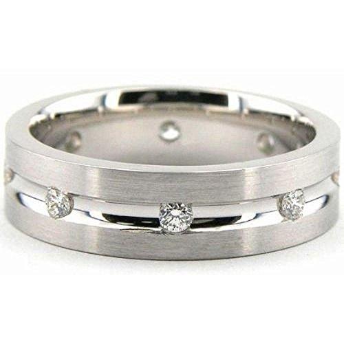 6 Mm Platinum Diamond (950 Platinum 6mm Diamond Wedding Bands Rings 1952 - Size 12.75)