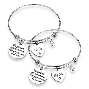 TOGON Sister Gift The Greatest Gift Our Parents Ever Gave Us was Each Other Bracelet Set Sister Jewelry Gift for Big sis Mid Sis Lil Sis