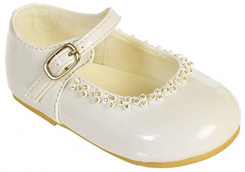 (iGirlDress Patent Leather Party Shoes Ivory Infant Size 7 )