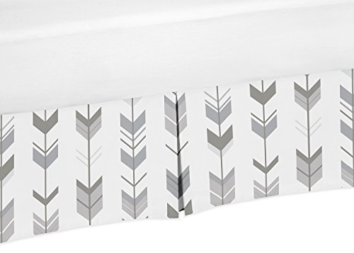 Sweet Jojo Designs Grey and White Pleated Toddler Bed Skirt Dust Ruffle for Woodland Arrow Collection by Sweet Jojo Designs