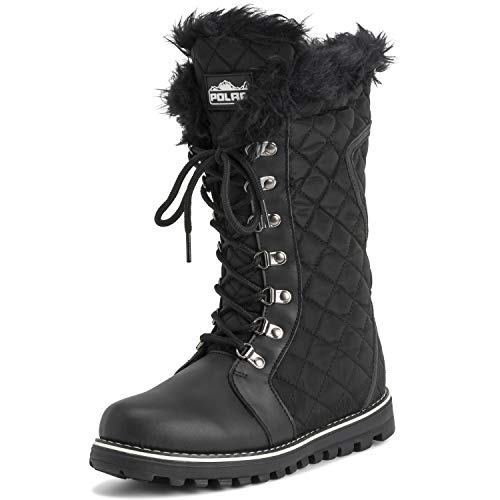 Polar Womens Quilted Comfy Winter Rain Warm Snow Knee High Boot - Black/Black Nylon - US5/EU36 - YC0498