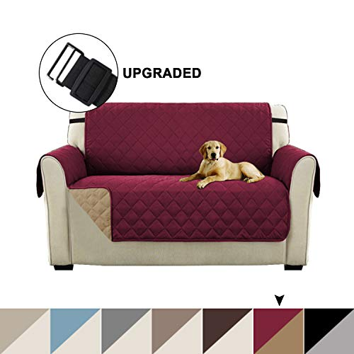 Slip Resistant Loveseat Slipcover Protector Pet Covers for Couches and Sofas, Seat Width Up to 46, Reversible Furniture Cover with Elastic Straps, Machine Washable (Loveseat - Burgundy/Beige)