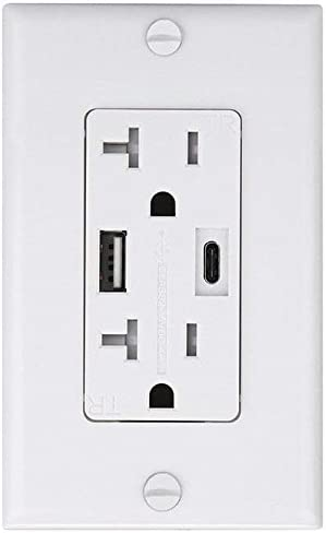 Tamper Resistant Receptacle /& Free Wall Plate Teklectric 4.0A High Speed USB A//USB C Charger Outlet 20A White 3 Pack