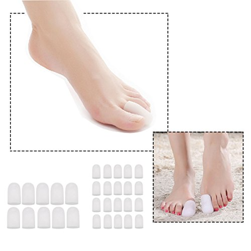 30 Pieces Gel Toe Caps, Silicone Toe Protector Toe Covers to Protect from Rubbing, Ingrown Toenails, Corns, Blisters, Hammer Toes and Other Painful Toe Problems
