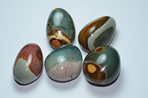 Besthk Ocean Jasper Agate Smooth Palm Stone Crystal Healing Gemstone Worry Therapy (5pcs)