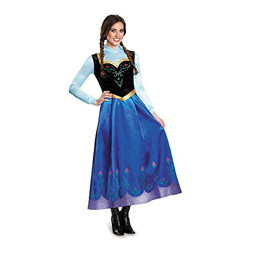 Anna Costumes Disney (Disguise Women's Anna Traveling Prestige Adult Costume, Multi, X-Large)