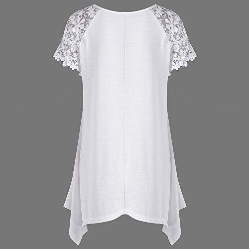 Grande Elegante Taglia Donna Maglietta Tshirt Bianco Camicie Cotone Abbigliamento Donna Camicetta Prospettiva Manica Cime Estate Sciolto Pizzo Tunica Tops B Manica Weant Canotta Blusa C4wRHq1