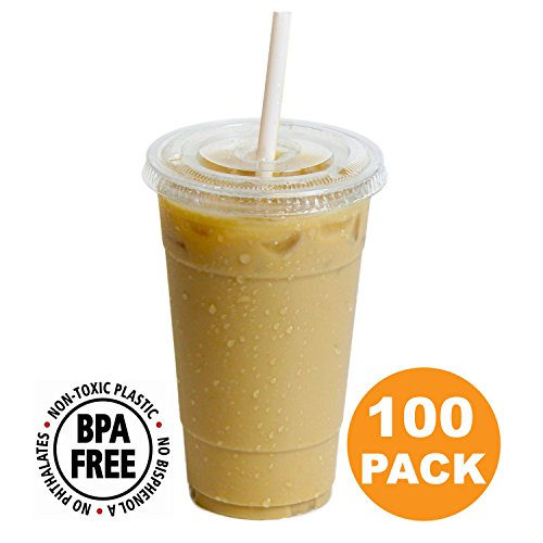 Clear Plastic Cups With Flat Slotted Lids for Iced Cold Drinks 24oz, Disposable, Extra Large Size [100 Pack]