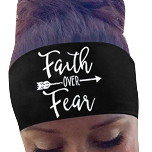 Malloom Ladies Letter Sports Sweatband Headband for Fashion Fitness Yoga Travel (Faith Over Fear, Black)