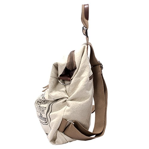 EasyHui Canvas Printed Satchel Convertible Backpack Crossbody Bag Women Vintage Shoulder Handbag Unisex Travel Backpack Beige by EasyHui (Image #1)