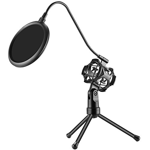 Neewer Pro Desktop Microphone Tripod Stand with Shock Mount Microphone Holder and Pop Filter Mask Shield for Studio Vocal Recording Podcasts, Online Chat, Meetings and Lectures(NW-2)