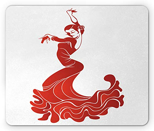 (Ambesonne Spanish Mouse Pad, Flamenco Dancer Performance European Folklore Traditional in Warm Colors, Standard Size Rectangle Non-Slip Rubber Mousepad, Vermilion and White)