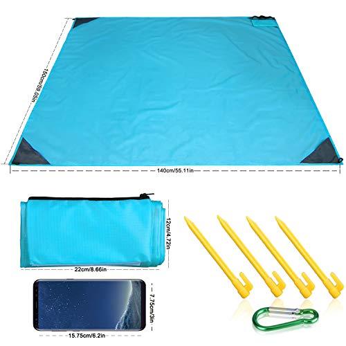 (WETONG Sand Free Beach Mat Blanket Compact Pocket Blanket 55