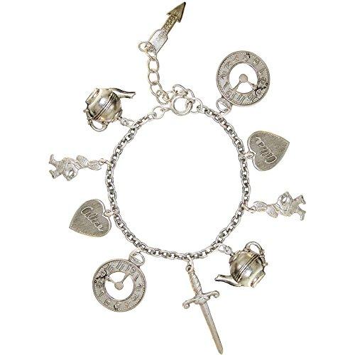 Alice in Wonderland Charm Bracelet, in Burnished Silver
