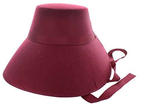 Felt Historical Costume Bonnet Burgundy (Burgundy Felt Bonnet)