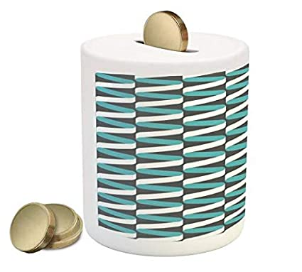 Design Bank Twist.Amazon Com Lunarable Aqua And Grey Piggy Bank Vertically Aligned