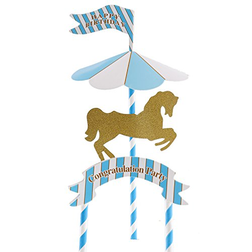 Happy Birthday Carousel Cake Toppers Baby Kids Birthday Carousel Gold Horse Cake Topper Party Supplies Cake Decoration Blue Topper (Horse Topper)