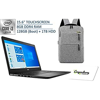 2020 Dell 15 3000 15.6 Inch HD Touchscreen Premium Laptop, 10th Gen Intel Core i3-1005G1 (Beats i5-7200U), 8GB DDR4, 128GB SSD (Boot) + 1TB HDD, Windows 10 S + Legendary Computer Backpack & Mouse Pad