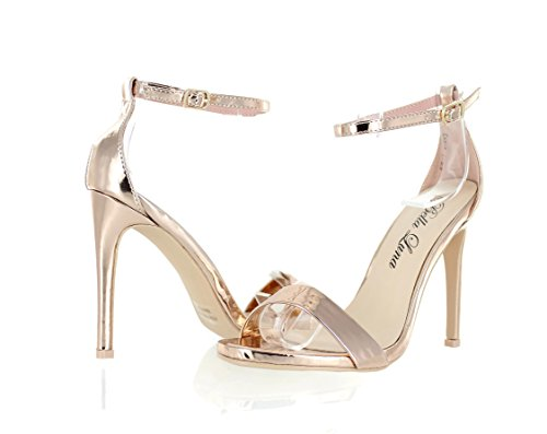 800c82da82b Urban Heel Metallic Ankle Strap Open Toe Stiletto Heel Premier Dream Comfort