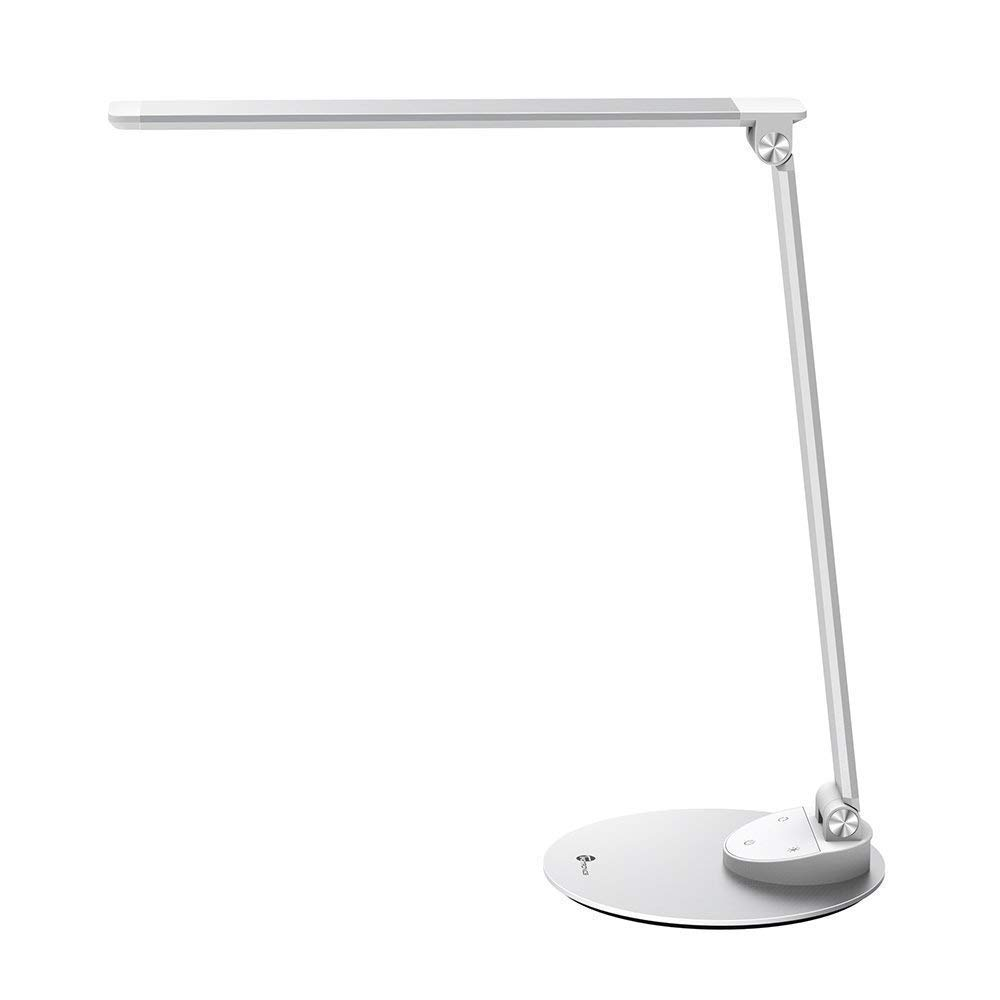 TaoTronics TT-DL19 LED Desk Lamp morden desk lamp with USB Charging Port, Eye- care Dimmable Lamp, general size lamp, Metal, Silver(renewed) by TaoTronics
