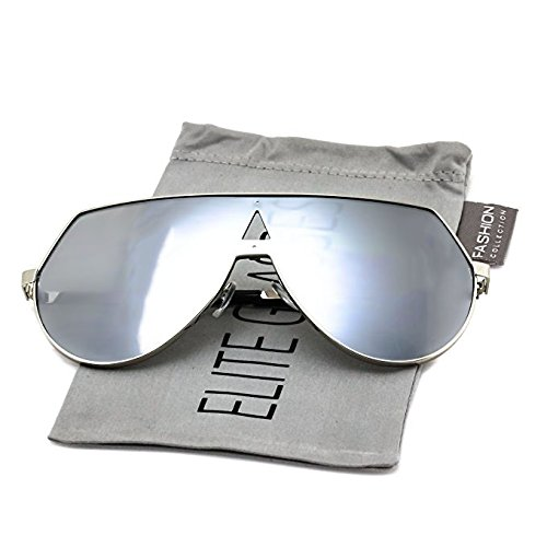Elite Mens Oversize Flat Top Aviator Retro Shield Oceanic Lens Rimless Sunglasses (Silver Mirrored, - Top Flat Aviator Sunglasses