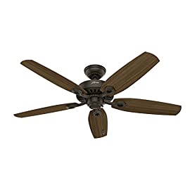 Hunter Indoor Ceiling Fan, with pull chain control - Builder Elite 52 inch, New Bronze, 53242 1 The Hunter Builder Elite ceiling fan combines casual elegance with a 52 inch blade span for the perfect addition to your large room. It has a flexible mounting system designed to accommodate standard, flush or angled mounting depending on your installation needs. The Whisper Wind motor offers powerful yet quiet operation with 3 speeds and a reverse function for optimal comfort. It features a relaxed, traditional design, as well as a new bronze finish, with harvest mahogany and Brazilian cherry finishes on its reversible fan blades, helping to expand your decorative choices.