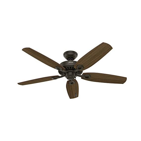 "Hunter builder elite indoor ceiling fan with pull chain control, 52"", new bronze 1 classic ceiling fan: the traditional builder elite traditional fan comes with harvest mahogany reversible blades that will keep home interior and exterior current and inspired; measures 52 x 52 x 11. 27 inch multi-speed reversible fan motor: whisper wind motor delivers ultra-powerful airflow with quiet performance; change the direction from downdraft mode during the summer to updraft mode during the winter pull chain control: turn the bronze ceiling fan on/off and adjust the speed quickly and easily with the pull chains"