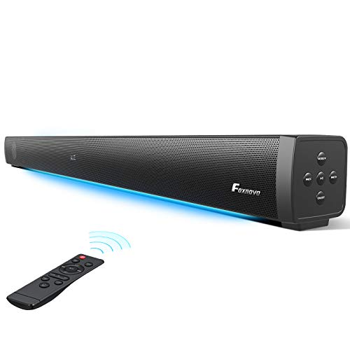 Foxnovo Sound Bars for TV: 60W Deep Bass TV Sound Bar with Breathing Light Wired & Wireless 3D Surrounded Home Theater…