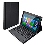 POWERADD Microsoft Surface 3 Keyboard Case Detachable Wireless Bluetooth Keyboard with Touch Pad with Magnetic PU Leather Stand Case Cover (ONLY for Surfcase 3 Tablet) - Black