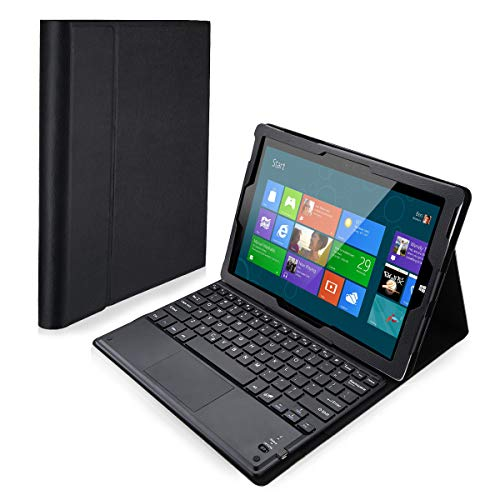 POWERADD Microsoft Surface 3 Keyboard Case Detachable Wireless Bluetooth Keyboard Touch Pad Magnetic PU Leather Stand Case Cover (ONLY Surfcase 3 Tablet) - Black