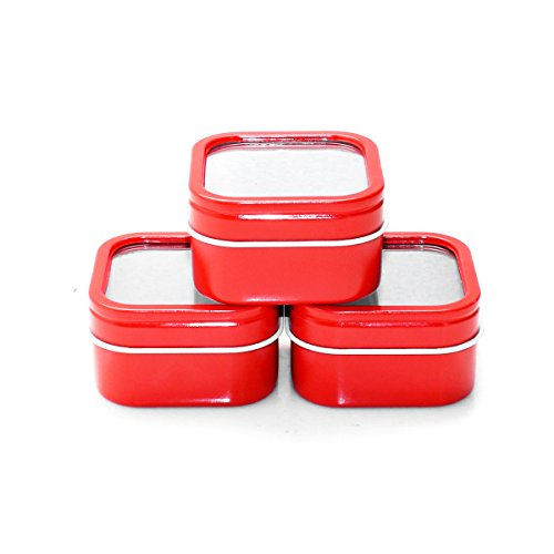 Mimi Pack 2 oz Square Window Metal Tins with Rounded Corner Tin Container with Lids for Party Favors, Teas, Gels, Creams, Salves, Crafts, Candles, and Gifts 24 Pack (Red) -