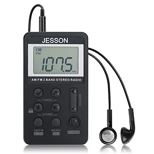 c4bda883ff46 JESSON Personal AM FM Pocket Radio Portable Digital Tuning Stereo Radio  with Earphone and Rechargeable Battery for Walk