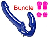 Double-ended strap on Strapless strapon With Bullet Vibrator for Lesbian Pegging AND Pink Advanced Nipple Sucker Suction Bulb Enlargement Enlarger Bundle