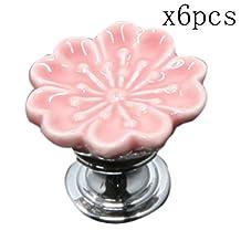 Choubao Pink Durable Pretty Flower Shape Design Ceramic Kitchen Cupboard Cabinet Drawer Door Knobs Multi-color Optional Furniture handle - 6pcs