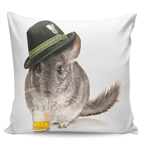 Rocking Giraffe Decorative Pillow Case Funny Mouse in Hat Drinking Beer Square Cushion Cover Super Soft Satin Fabric Pillowcase for Home Couch Sofa Bed 26 x 26 Inch 65 x -