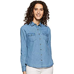 Amazon Brand – Inkast Denim Co. Women's Solid Slim Fit Full Sleeve Shirt
