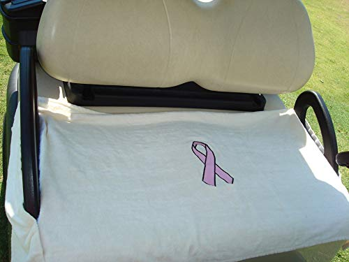 (Nif Tee Seat NTRB Golf Cart Seat Cover Pink Ribbon Embroidery, 100% Cotton Terry Cloth, Fits All Standard Golf Carts (White))