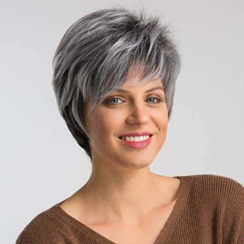 Short Soft Super Curly White and Gray Layered Natural Movement Synthetic Wig Wigs (A)