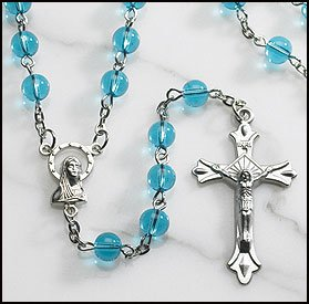 Religious & Catholic Men or Womens Rosary, Aqua Glass Rosary, Material: Glass 6 Mm Bead Size: 20
