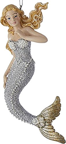 Mermaid Christmas Ornament Silver w Gold Tail C6794-A
