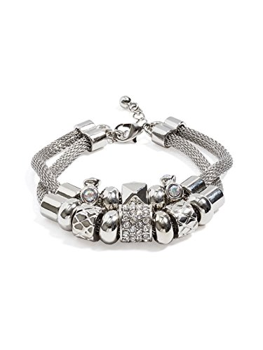 GUESS Factory Women's Silver-Tone Mesh Beaded Bracelet