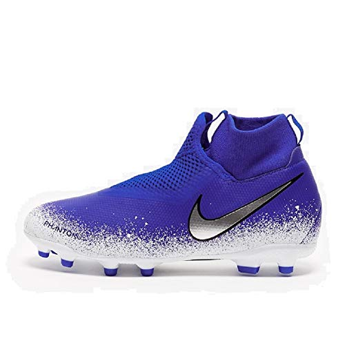 Nike JR Phantom Vision Academy DF MG Soccer Cleat (Racer Blue/Chrome/White) (2.5Y) ()